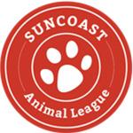 Suncoast animal league red and white logo