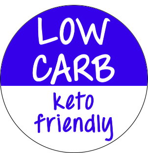 Circular purple and white sticker with 'Low Carb Keto Friendly'