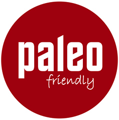 Circular red sticker with 'Paleo Friendly' written on it