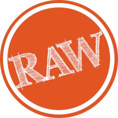 circular orange sticker with 'RAW' written on it