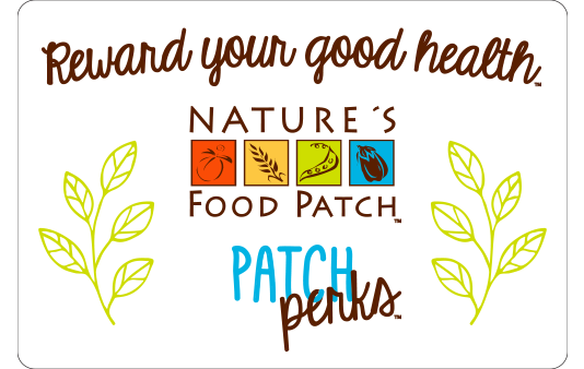 Nature's Food Patch Patch Perks rewards program, card for website with green branches