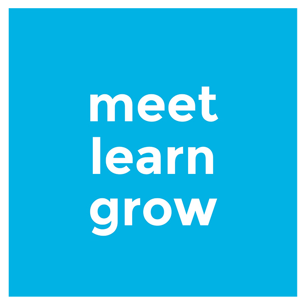 blue background with the words MEET LEARN GROW