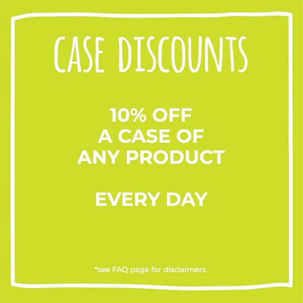 Case discounts at Nature's Food Patch - 10% off a case of any product every day.