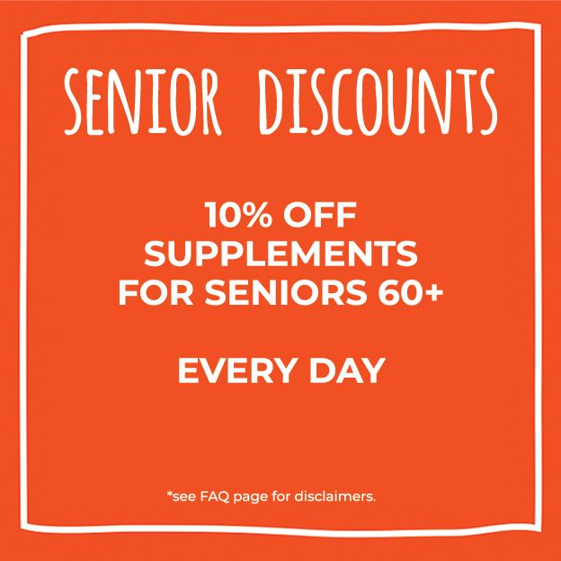 Senior Discounts at Nature's Food Patch - 10% off supplements for seniors 60+ every day