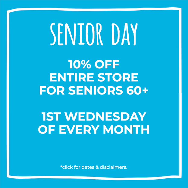 Blue box with Senior Day information